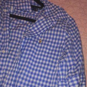 Blue and white checkered polo button down